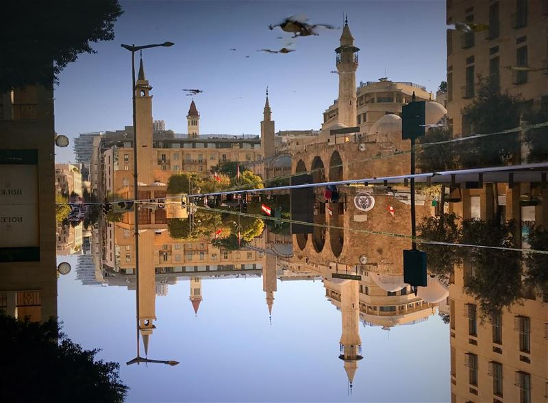 """""""People are like water, once disturbed they tamper your reflection, but... (Downtown, Beirut, Lebanon)"""