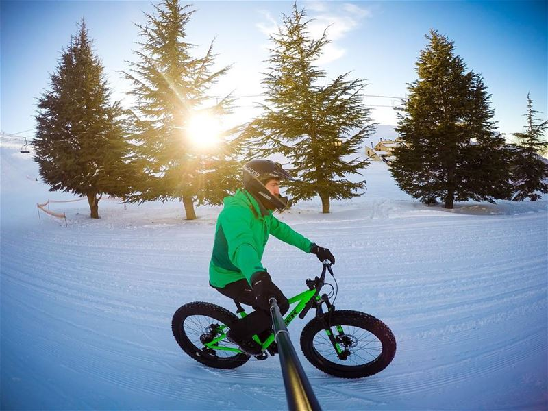 Sunset ride with my Farley 🚴🏻 Lebanon whatsuplebanon instagram ... (Mzaar Kfardebian Ski Resort.)