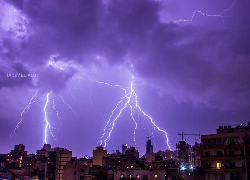 It was worth the wait 🌩 Beirut Lightning Storm Lebanon whatsuplebanon ... (Beirut Bourj Hammoud)