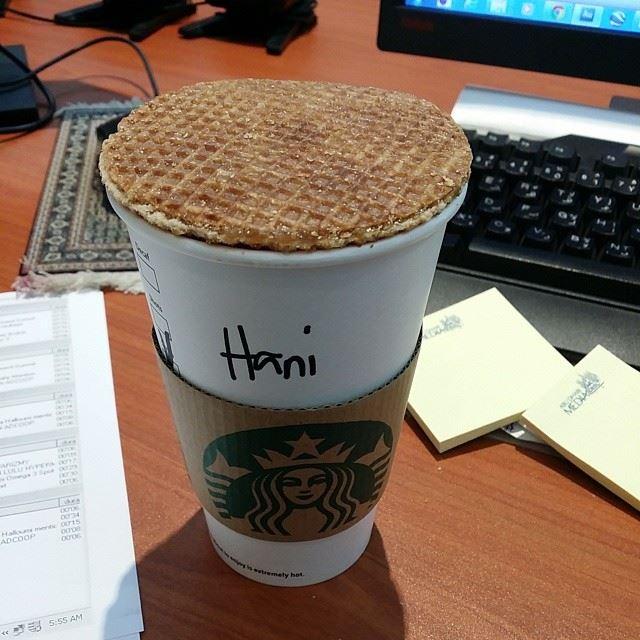 starbucks coffee cappuccino caramel waffle yummy good morning ...