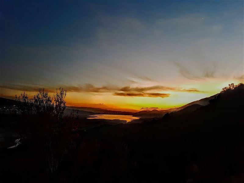 sunset sunsets sunsetlovers beautiful beautifulsunset ... (Lake Qaraoun)