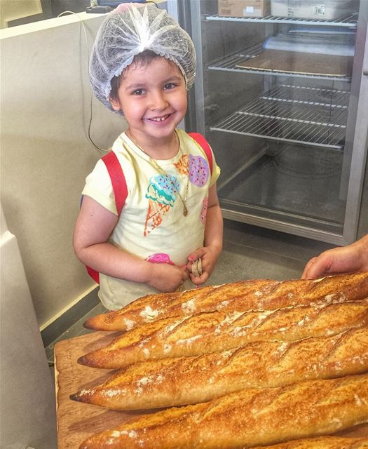 Maria was so happy to see how the delicious baguettes are being prepared... (Bread Butiq)