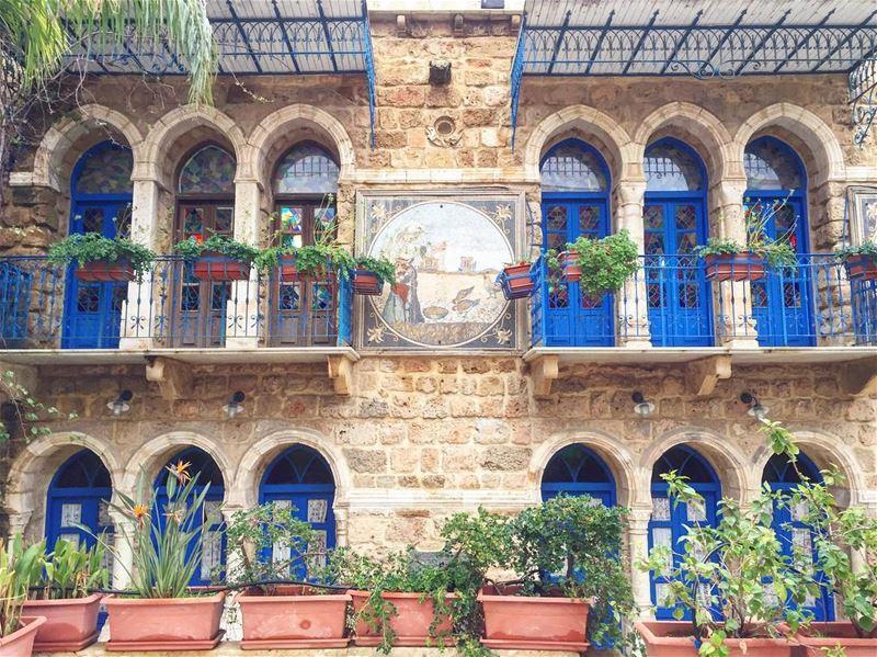 green eco balconies blue doors architecture archilovers heritage ... (Beirut, Lebanon)