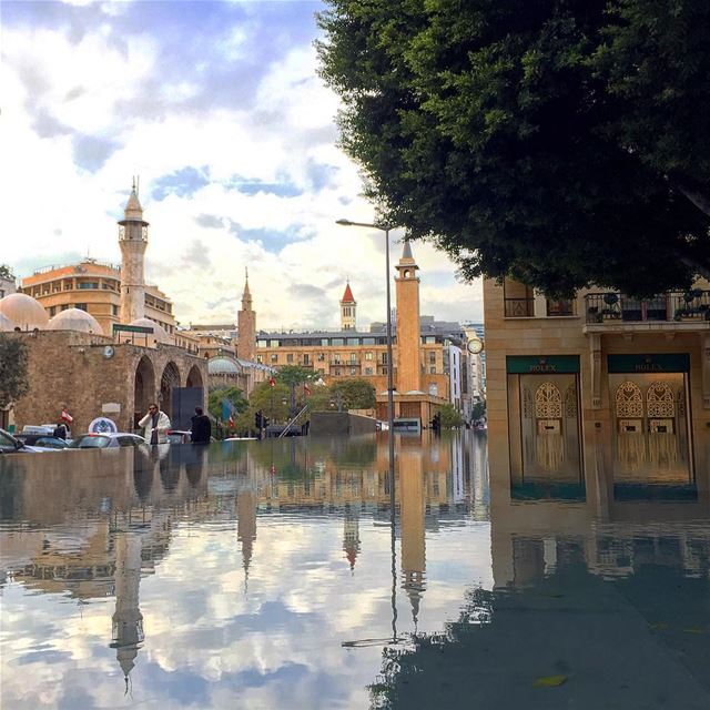 water reflection clouds streetphotography streetstyle mosque ... (Beirut, Lebanon)