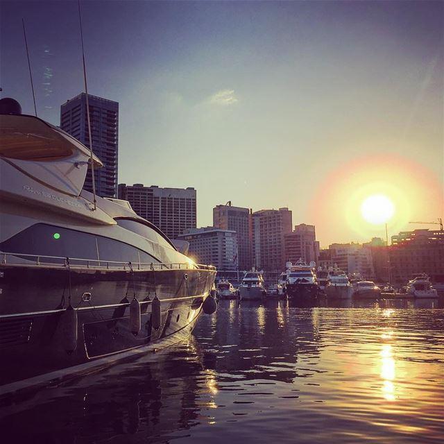sunset boat port sea water buildings blue sky horizon ... (Beirut, Lebanon)