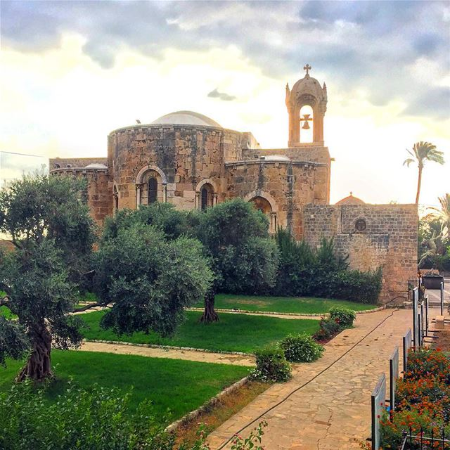 sunset medieval church architecture archilovers trees clouds ... (Byblos, Lebanon)