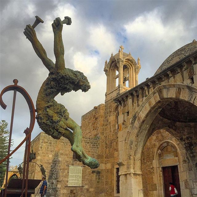 sculpture jesus church religion christianity spirituality cross ... (Byblos, Lebanon)