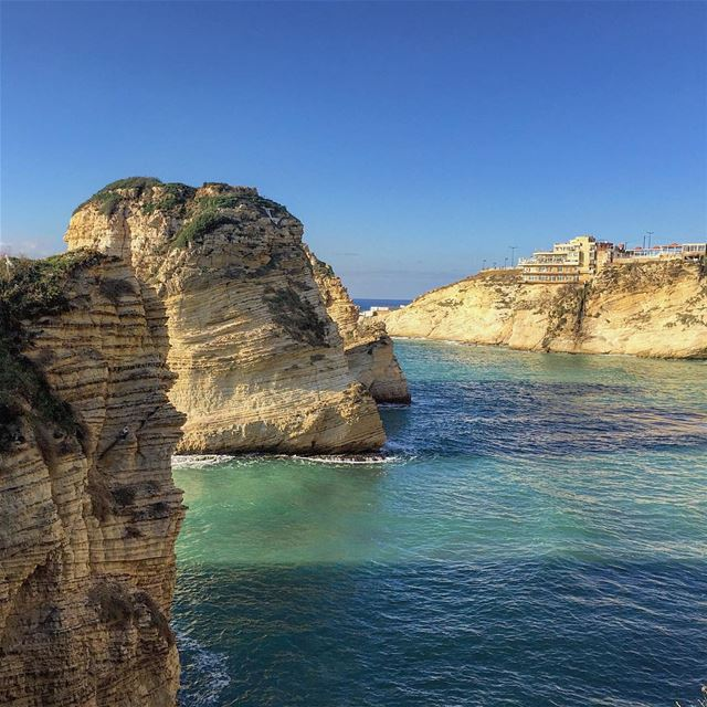 Raouche rocks blue sea sky nature naturelovers serenity igers ... (Beirut, Lebanon)