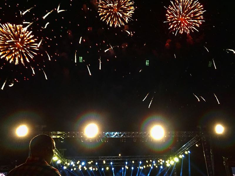saturday nightout concert music fireworks black sky bright stage ... (Beirut Arab University Debbieh)