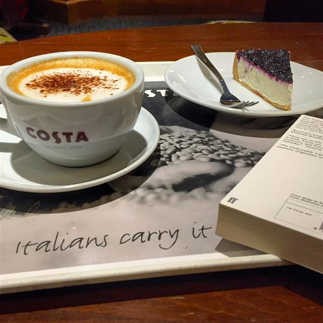 indulgence therapy book reading cappuccino dessert cheese cake ... (Beirut, Lebanon)