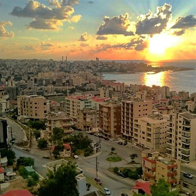 sunset panoramic view horizon clouds cloudporn landscape nature ... (Beirut, Lebanon)
