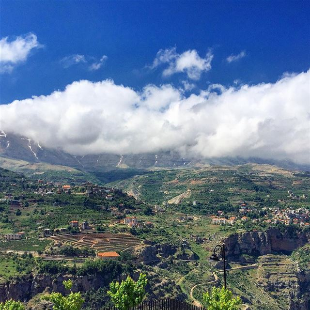 panoramic view landscape valley trees nature blue sky clouds ... (Bsharri, Lebanon)