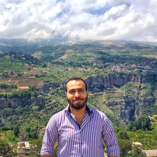 me panoramic view landscape valley trees nature clouds blue sky ... (Bsharri, Lebanon)