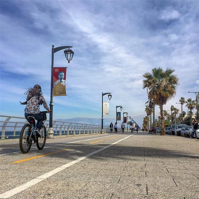 saturday walk biker sport sea blue sky cloudporn city igers ... (Beirut, Lebanon)