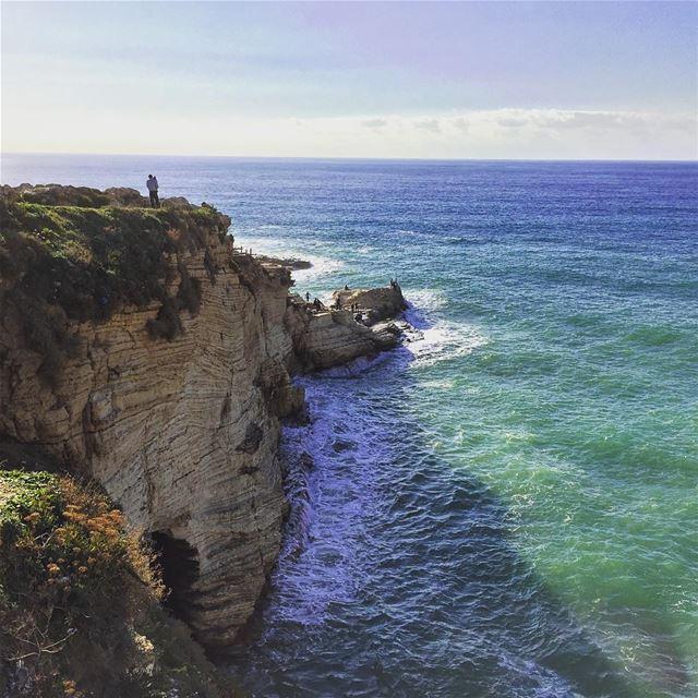 sea horizon nature naturelovers landscape rocks waves blue ... (Beirut, Lebanon)
