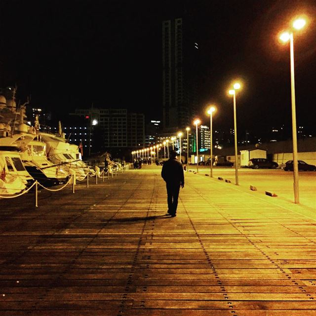 stranger wanderer wanderlust latenight lonely walk lights lamps ... (Beirut Waterfront)