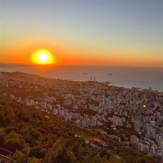 sunset colors panorama view sea horizon city igers igdaily ... (Junieh, Harissa - Lebanon)
