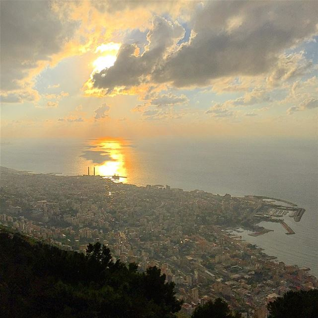 panorama view clouds cloudporn city sea sunset Jounieh igers ... (Lebanon Jounieh)
