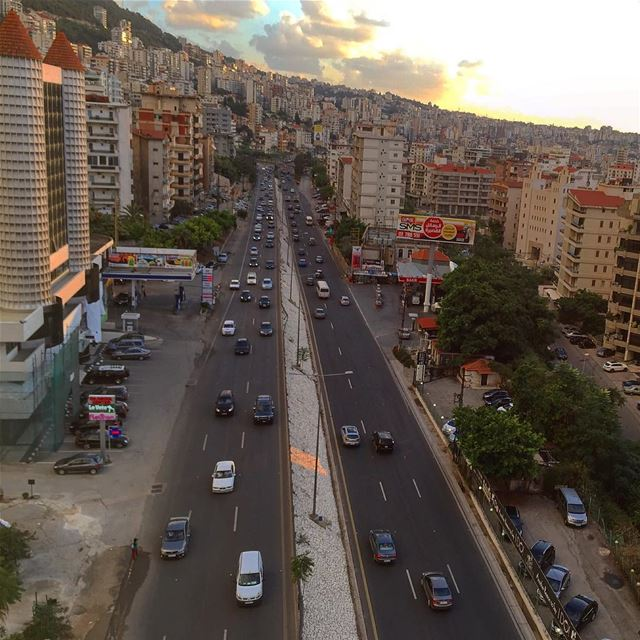 sunset colors highway cars transportation mountains building ... (Lebanon Jounieh)