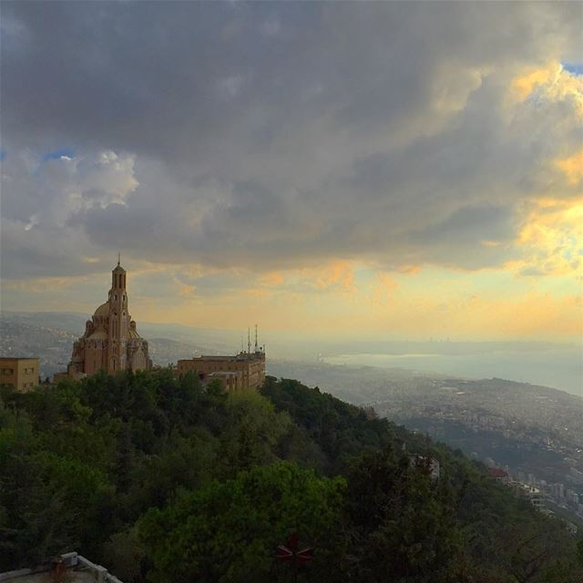 landscape nature mountains sea naturelovers church harissa ... (Harisa, Mont-Liban, Lebanon)