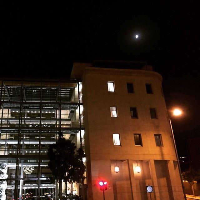 red light lamp light & moon light Beirut downtown at night ... (Downtown, Beirut, Lebanon)
