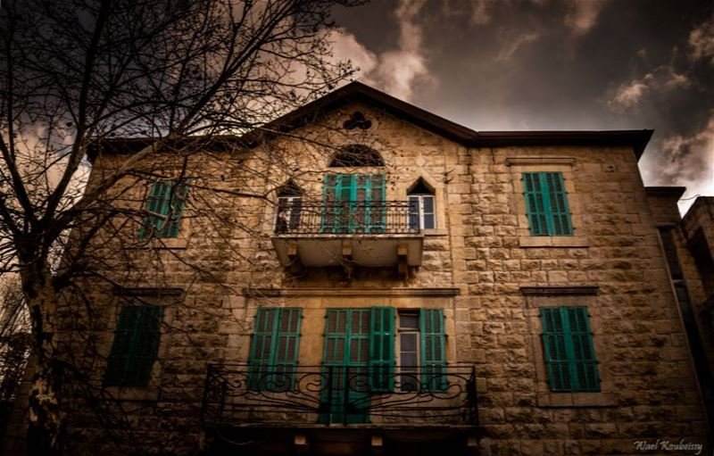 traditional old lebanese house balcony doors windows brick home ... (Sawfar, Mont-Liban, Lebanon)