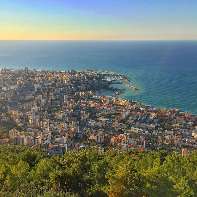 panoramic view landscape horizon nature naturecolors blue sea ... (Harisa, Mont-Liban, Lebanon)