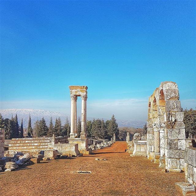 Ruins and skies ruins history ancient livelovebekaa livelovelebanon ... (`Anjar, Béqaa, Lebanon)