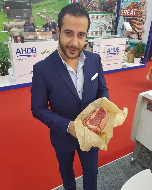 Last day let's try the Russian Black angus beef.... russian steak ... (Gulf Foods Dubai)