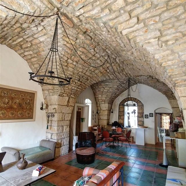 Caught a glimpse of the original 18th century floor (silky smooth stones)... (Ad Dibbiyah, Mont-Liban, Lebanon)