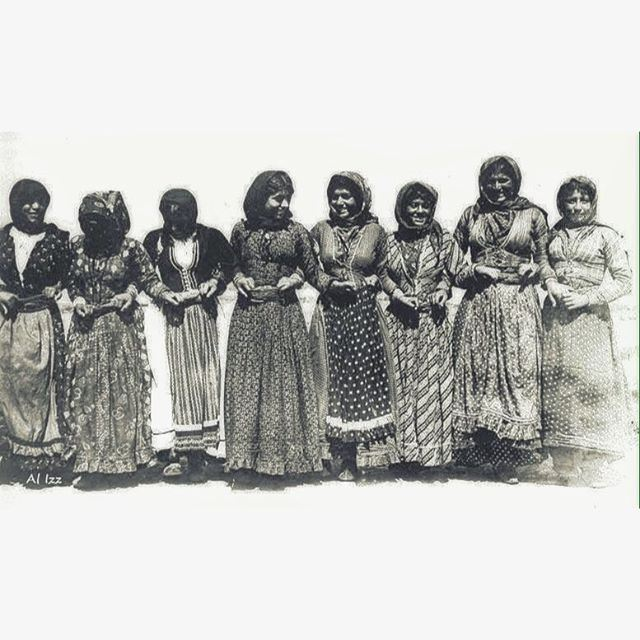 """118 Years Ago, Ain Ebel In 1898 - Local Woman Dancing The """"Dabbkeh"""" , Each Holding The Waist Cloth Belt Of Her Partner ."""