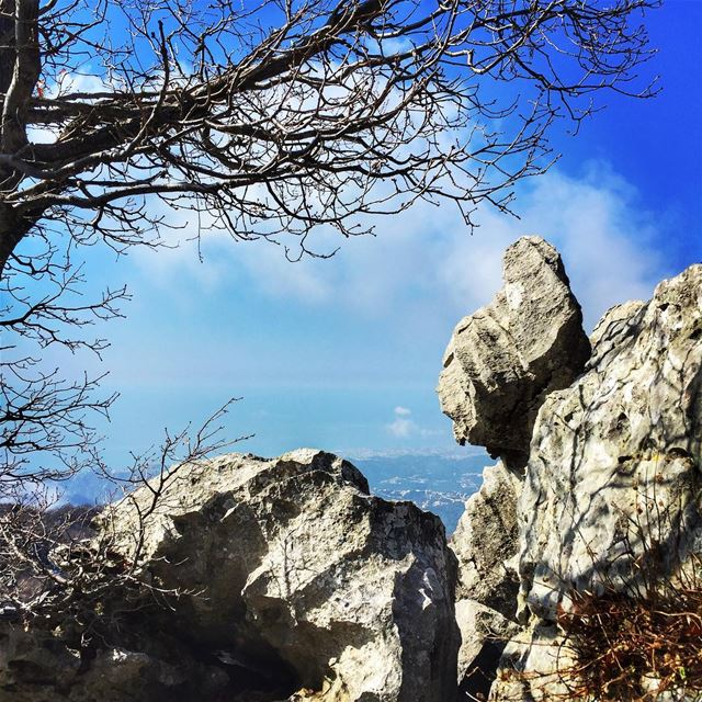 Discovering the sea behind the rocks ❤️ jabalmoussa love lebanon ... (Jabal Moussa)