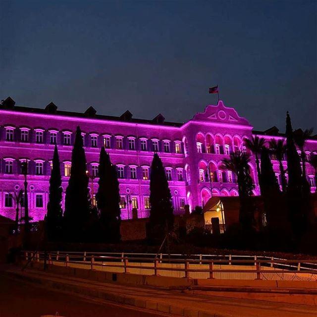 اضاءة السراي الحكومي باللون الزهري لمناسبة يوم_المراة_العالمي. بيروت لبن