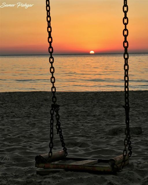 ..and so the sun sets on the abandoned swing..Beirut...