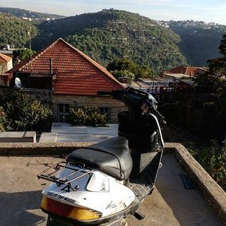 Parking spot for a bike. parking parkinglot scooter lebanon mountain ... (Deïr El Qamar, Mont-Liban, Lebanon)