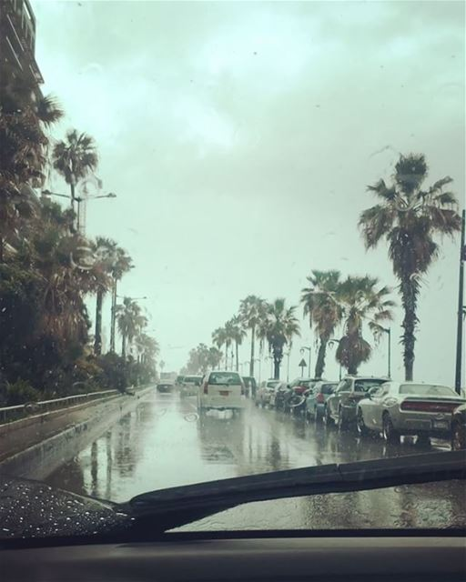 Rainy day makes me think about you a lot .. funfunfun  under  raining 🌧� (Ras Beirut - راس بيروت)