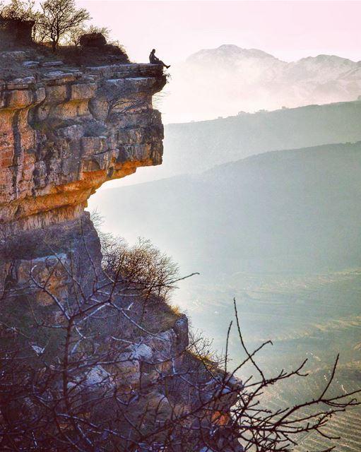 Enjoying the view ..... view cliff rocks hike hiking climping... (Akoura, Mont-Liban, Lebanon)