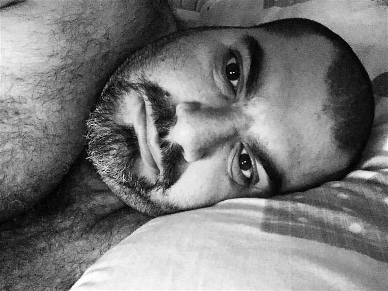 Good morning newday morning sleepy tired bed guy boy beard home ...