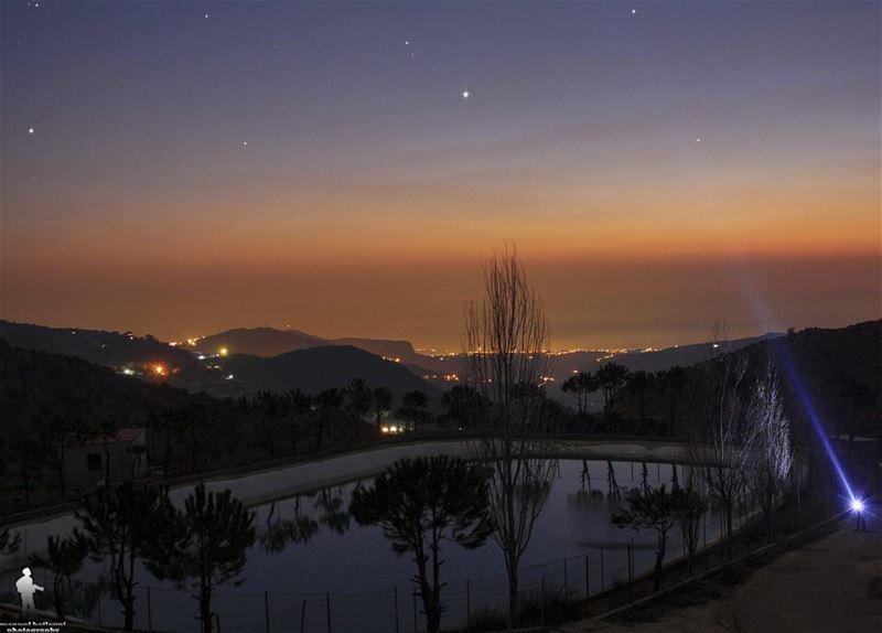 Night photography ♥ jbaa night sunset lights lake chouf lebanon...