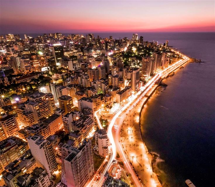 Nothing beats the stunning Blue hour in Beirut travel traveler street ... (Beirut, Lebanon)