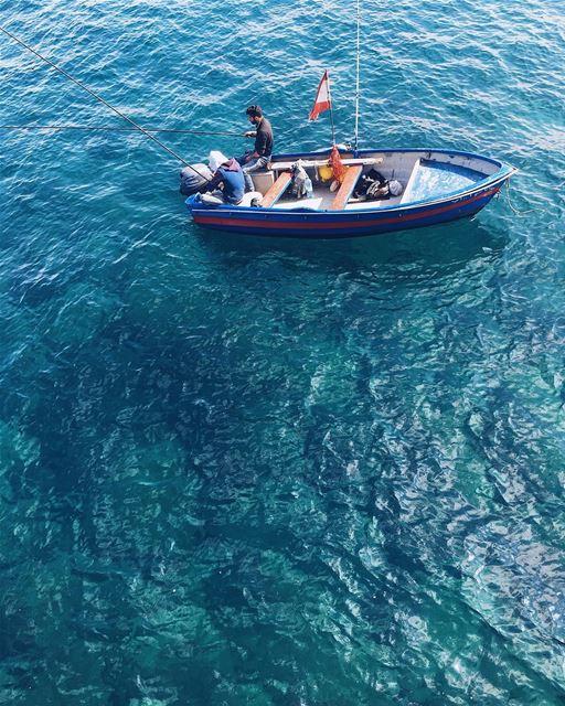 Water heaven 💙💚💙 water terquoise sea ocean fishing boat lebanon ... (Beirut, Lebanon)