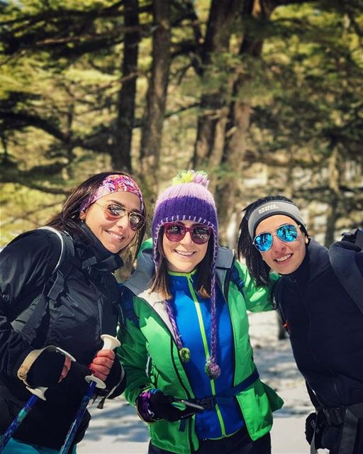 "Surrounded by my 2 ""M"" 💚 sisterlove snowshoeing livelovelebanon ... (Barouk Cedar Forest)"