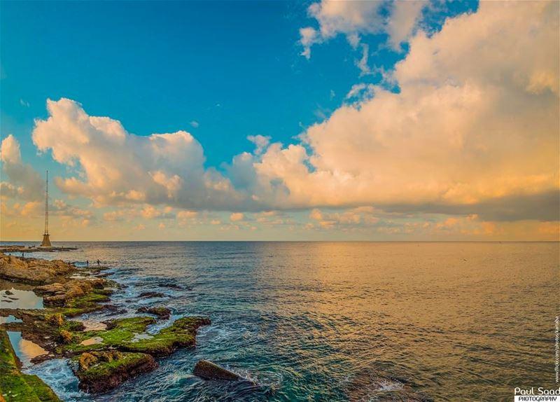 manara sunset lebanon lebanoninapicture sea beach ... (النادي العسكري المركزي المنارة)