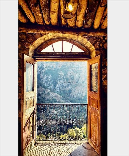 old oldvibes ancient door wood balcony mountainfellas mountains ... (Wadi qannoubine)