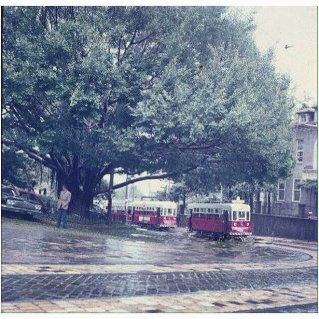 TramwayBeirut Near AUB Medical Gate In 1963 .