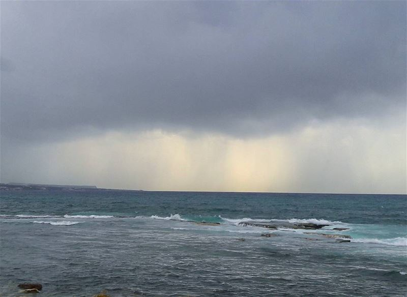 It's raining in the horizon 🌊 Tripoli TripoliLB Beautiful RainyDay ... (El Mîna, Liban-Nord, Lebanon)