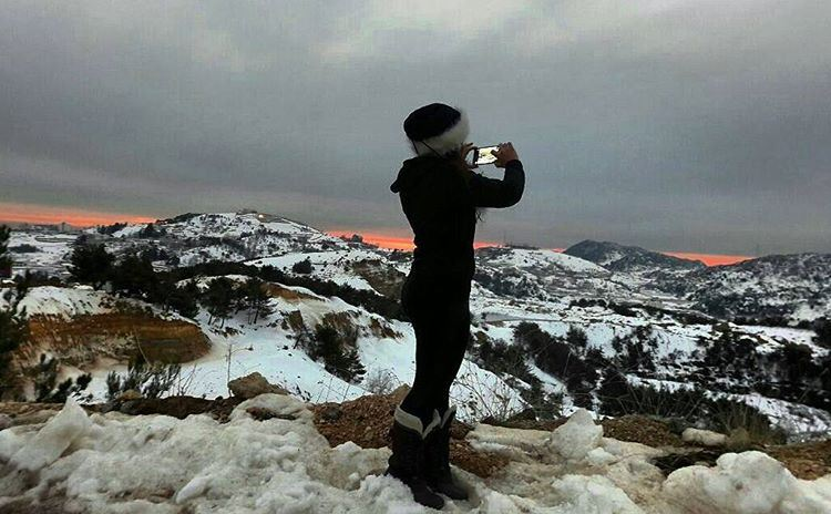 Trying to capturethemoment sunset lebanon snowtime winter sunset🌅 ...