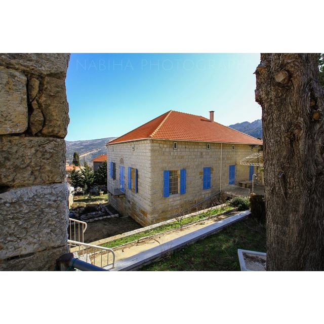 Douma House spring blue history old hike cloud monday history ... (Douma, Liban-Nord, Lebanon)