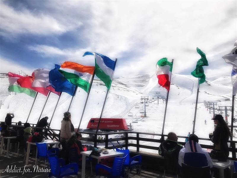 skiing flags watchers sky clouds wardeskislopes lebanon mountains ... (Faraya Wardeh)