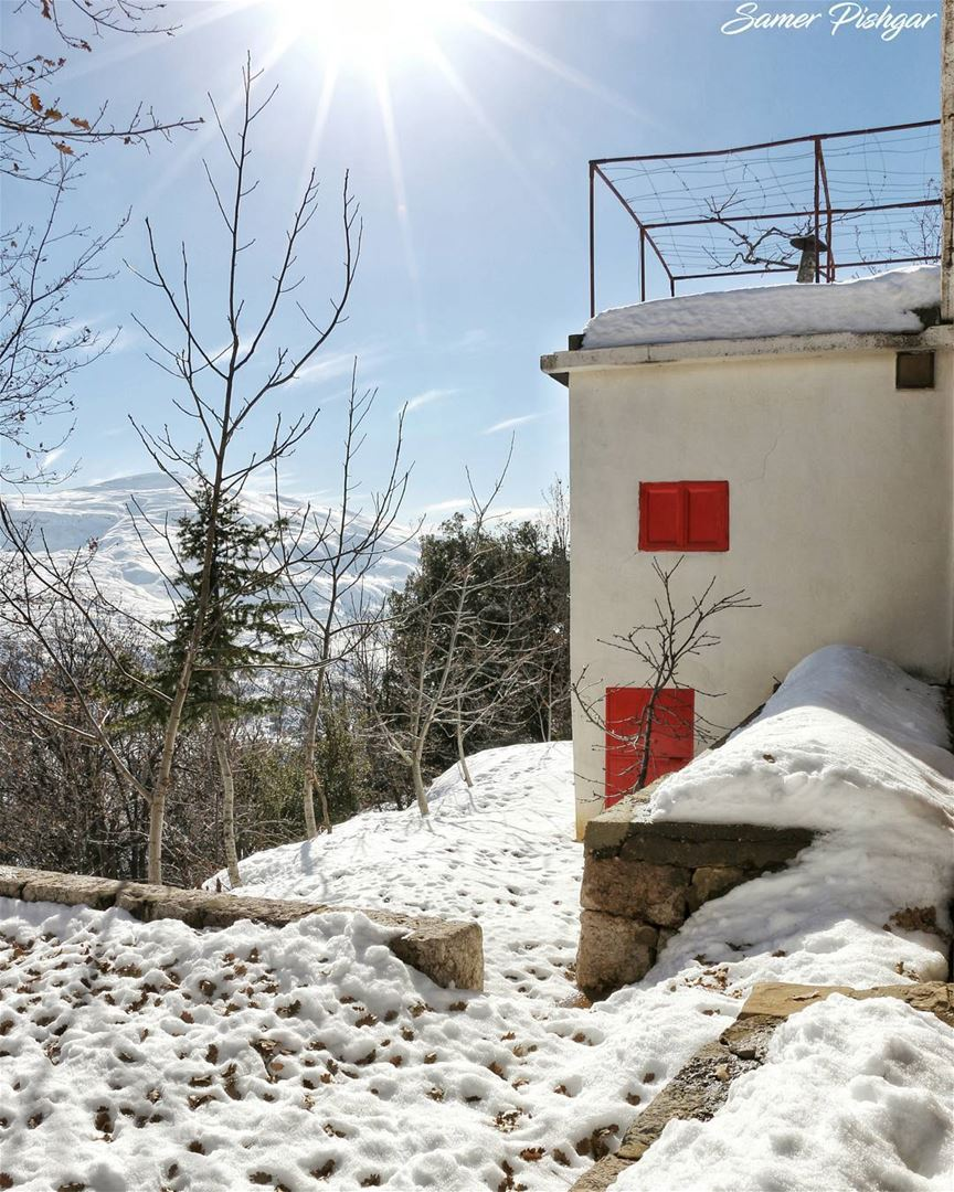 the house below Mount Sannine.. covered with snow under the sun.From...